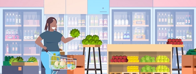 食料品の概念の女の子スーパーマーケットの顧客の食料品店のインテリアの水平方向の肖像画を選択するショッピングトロリーカートを持つ女性