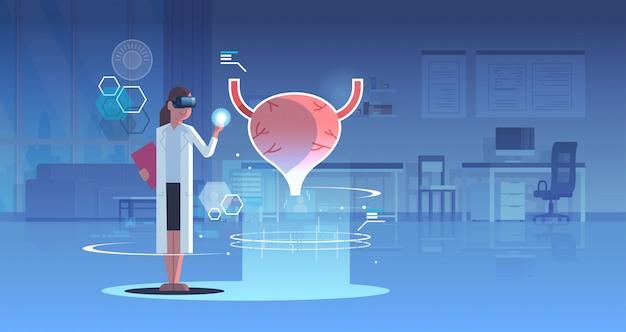 Женщина-врач в цифровых очках, глядя виртуальной реальности мочевого пузыря анатомии человеческого органа