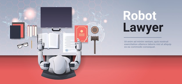 Робот-адвокат или судья читает книгу законов гуманоид