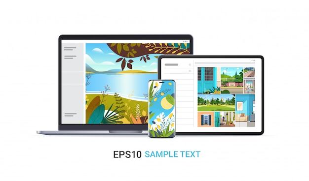 リアルなモックアップガジェットとデバイスの画面に、美しい壁紙を備えたラップトップタブレットとスマートフォンを設定します
