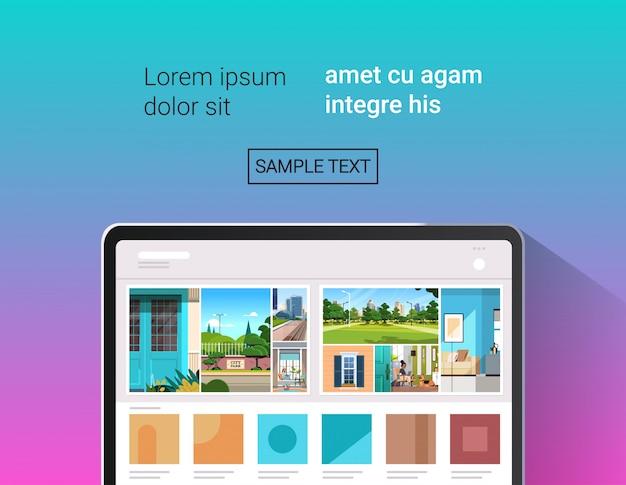 画面に美しい壁紙を備えたラップトップ現実的なガジェットとデバイスのコンセプトの水平