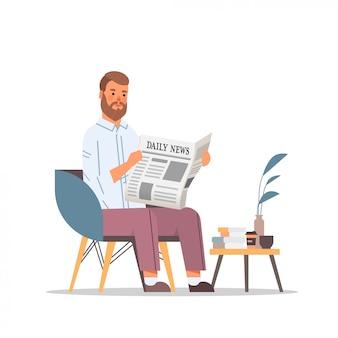 Человек, держащий газету, читая ежедневные новости пресса сми концепция бизнесмен, сидя на кресле