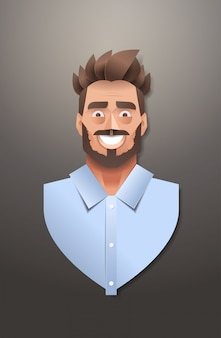 青年実業家顔アバター笑顔ビジネス男肖像トレンディな紙折り紙アート男性漫画キャラクター垂直フラット