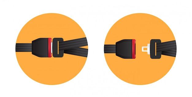 シートベルトを固定します安全な旅行の安全の最初のコンセプトロックおよびロック解除された自動車用シートベルトサイン水平フラット
