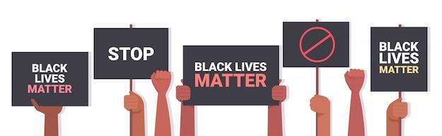 人種差別に反対する黒人生活のバナー広告キャンペーンの抗議者の手