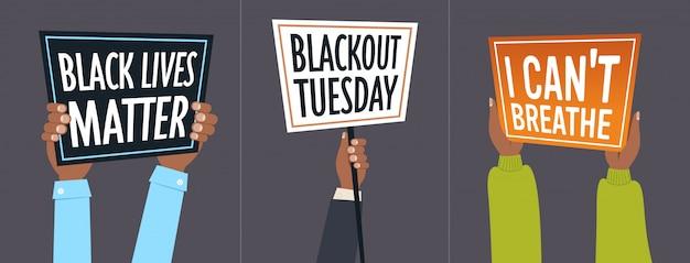 停電火曜日を保持している手を設定する私は黒い生命問題バナーを呼吸することはできません。