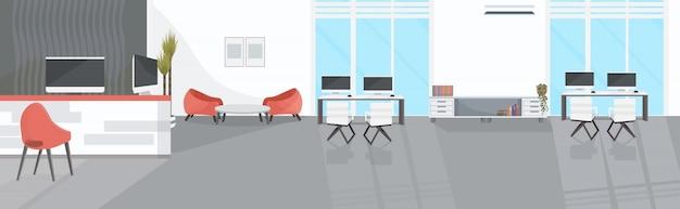 Пустой нет людей коворкинг центр современный открытый космос офис интерьер эскиз