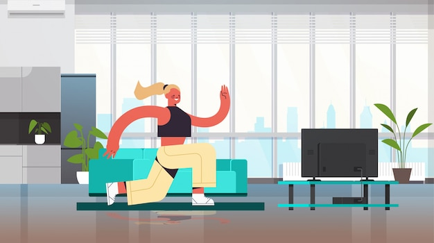Женщина делать приседания на дому девушка тренировка кардио фитнес тренировка здоровый образ жизни интерьер гостиная полная длина иллюстрация