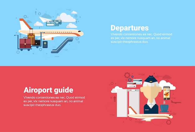 Аэропорт руководство отправление самолет транспорт воздушный туризм веб-баннер плоский векторной иллюстрации