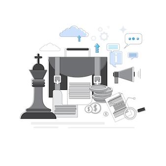 Концепция бизнес-стратегии баннер тонкая линия векторной иллюстрации