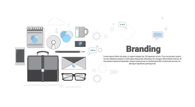 ブランディング会社広告ビジネスコンセプトバナー細い線ベクトル図