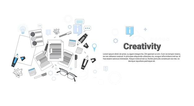 Творческий процесс новый креативный идеал бизнес-концепция баннер тонкая линия векторной иллюстрации