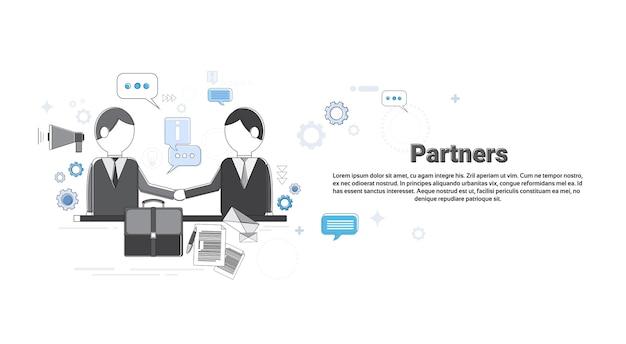 Бизнесмен партнеров встряхнуть стороны концепции партнерства бизнес веб-баннер векторной иллюстрации