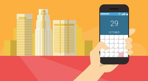 ハンドホールドセルスマートフォンアプリケーションオンラインカレンダーバナーフラットベクトル図