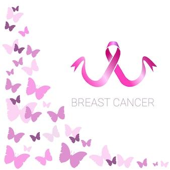 ピンクリボン乳癌意識フラットベクトルイラスト