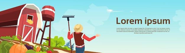 Фермер, работающий на ферме полевой культуры плоской векторной иллюстрации