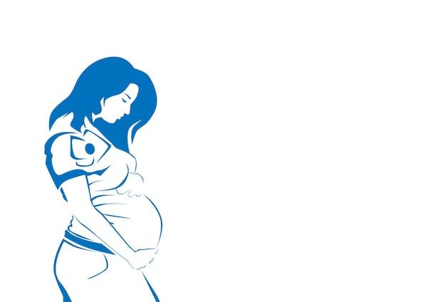 妊娠中の女性のシルエットスケッチ線ベクトル図