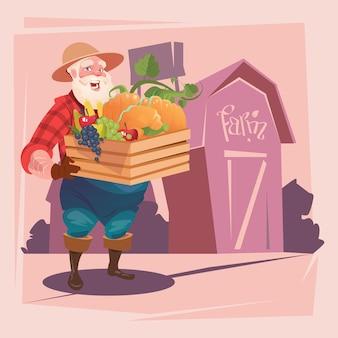 野菜農場の背景と農夫のホールドボックス