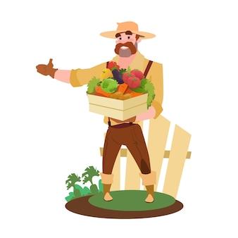 農家は新鮮な野菜の農作物市場とボックスを保持する