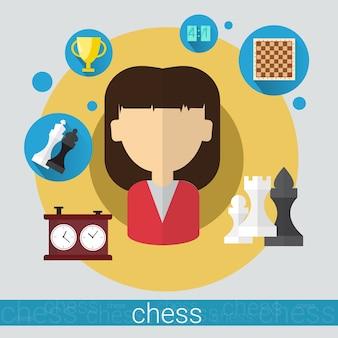 Шахматная игра игрок молодая женщина иконка