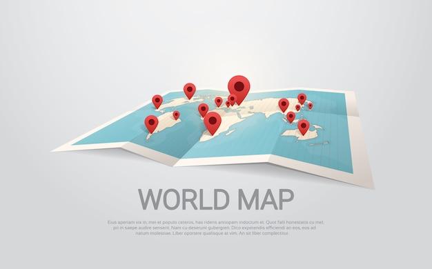 ピンを持つ世界地図地球旅行コンセプト