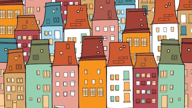 Красочные дома старый винтажный город тонкая линия деревни