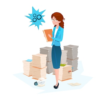 ビジネス女性は、紙の文書を積み重ね