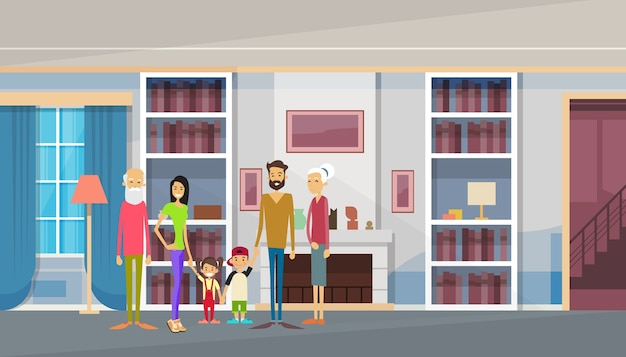 Большая семья бабушки и дедушки