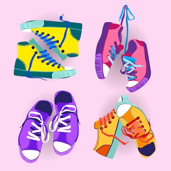 Красочные кроссовки обувь спортивная обувь установить коллекцию баннер