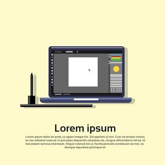 ラップトップコンピュータペイントアプリケーションクリエイティブデザインプロセス