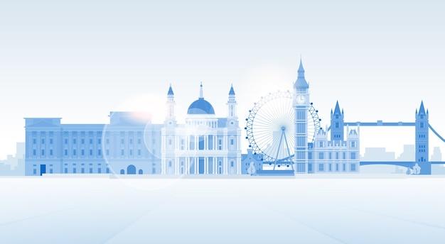 Лондонский силуэт английский город копировать пространство