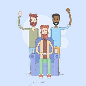 人間のグループ、アームチェアで座るビデオゲーム、滞在