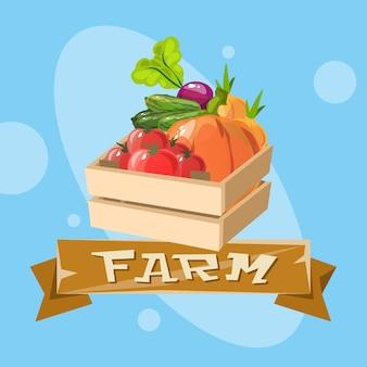 野菜収穫とエコ農業のロゴのコンセプト