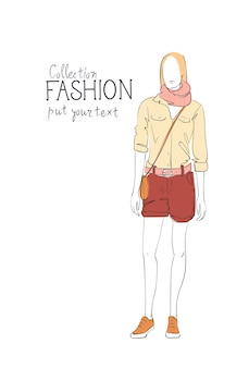 ファッションコレクションの洋服女性モデル