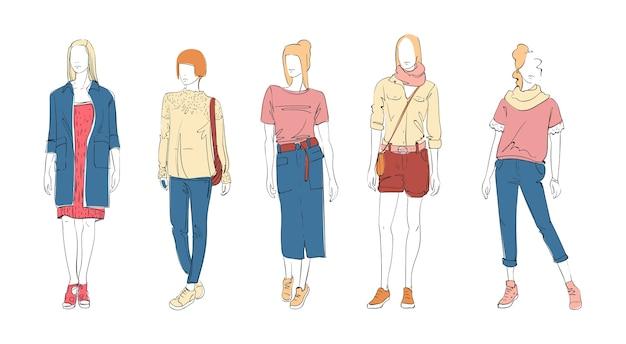 服装女性モデルのファッションコレクション