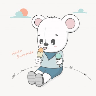 かわいいクマはアイスクリームこんにちは夏を食べる