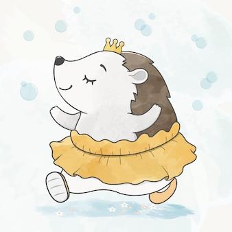 かわいい赤ちゃんヤマアラシの空気バブル水色漫画手描きで踊る
