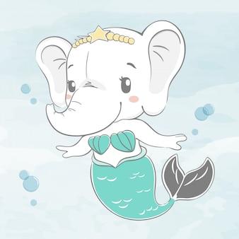 かわいい赤ちゃん象は人魚の水色漫画手描きイラストとしてドレスアップ
