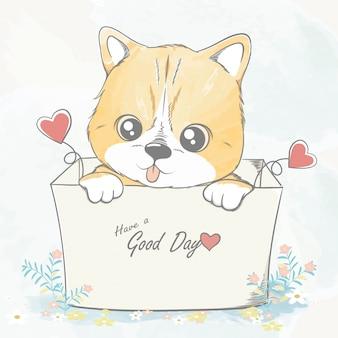 ボックス水色漫画手描きイラストのかわいい赤ちゃん猫
