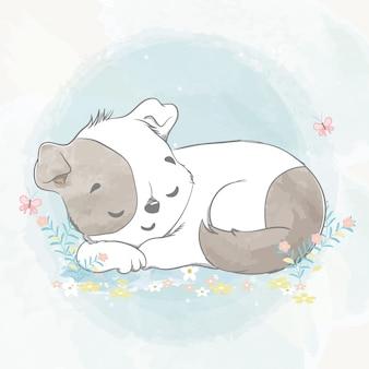 かわいい赤ちゃん犬が眠りに落ちた水色漫画手描きイラスト