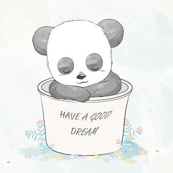 かわいい赤ちゃんパンダはバスケット水色漫画手描きイラストで眠りに落ちた