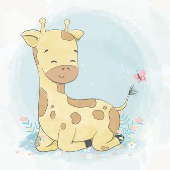 蝶水色漫画手描きイラストで遊ぶかわいい赤ちゃんキリン