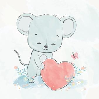 大きな心の水色漫画手描きイラストとかわいい赤ちゃんラット
