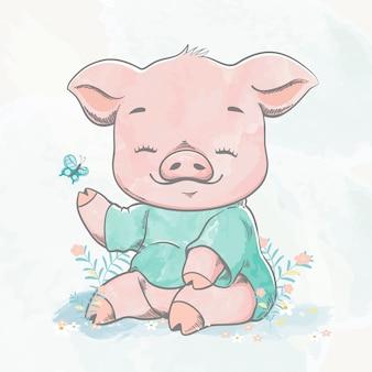 かわいい赤ちゃん豚水色漫画手描きイラスト