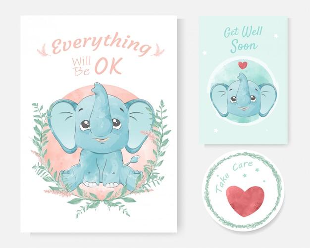かわいい象漫画手描き水彩画で肯定的なメッセージのカード