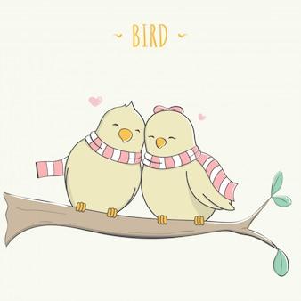 木のパステル漫画でかわいい恋人の鳥