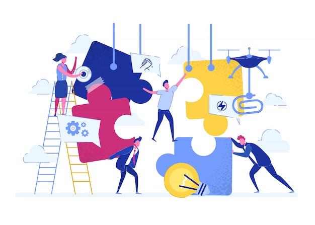事業コンセプトチームの比喩パズルの要素をつなぐ人たち。ベクトル図フラットなデザインスタイル。チームワーク、協力、パートナーシップ