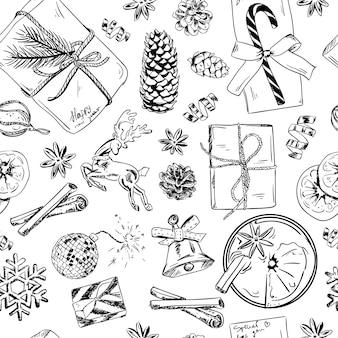 手でシームレスなパターンには、おもちゃ、針葉樹、冬の花、コーンが描かれています。