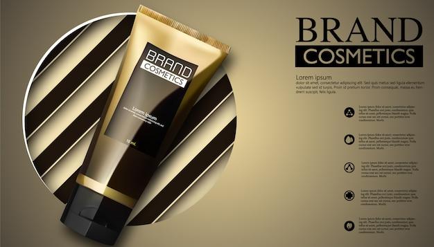 化粧品のパッケージデザイン。黒と白のクリーム、現実的なデザイン、ベクトルイラスト。
