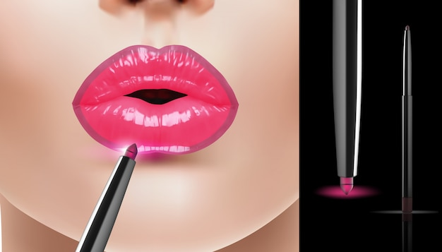 ファッション現実的なピンクのリップライナー広告、ベクトルイラスト。